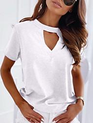 billige -Dame Ensfarget T-skjorte V-hals Daglig Hvit Svart Blå Rosa Grønn Beige S M L XL 2XL