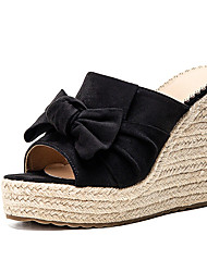 cheap -Women's Sandals Wedge Sandals 2020 Heel Sandals Summer Wedge Heel Peep Toe Minimalism Daily Party & Evening Bowknot Solid Colored Suede Dark Brown / Black / Beige