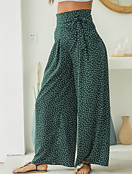 cheap -Women's Active Basic Loose Wide Leg Pants - Polka Dot Blue Red Green XS / S / M