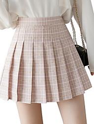 cheap -Women's A Line Skirts - Check Blushing Pink Green Light Green XS S M
