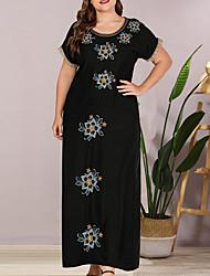cheap -Women's Sheath Dress - Short Sleeves Floral Summer Elegant 2020 Black L XL XXL XXXL