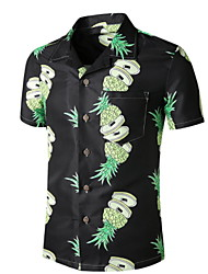 cheap -Men's Graphic Pineapple Print Shirt Tropical Daily Button Down Collar Black / Short Sleeve