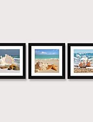 cheap -Framed Art Print Framed Set 3 - Blue Mediterranean Beach View Wall Art