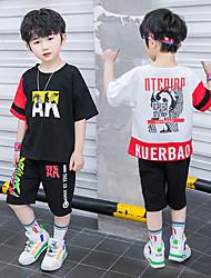cheap -Kids Boys' Active Street chic Daily Wear Outdoor Black & Red Black & White Geometric Color Block Cartoon Patchwork Print Short Sleeve Regular Regular Clothing Set White