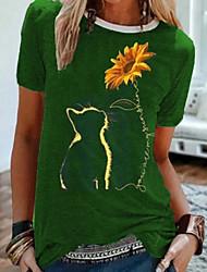 cheap -Women's T shirt Floral Flower Sunflower Round Neck Tops Basic Top Black Blue Purple
