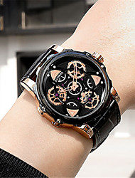 cheap -Men's Dress Watch Japanese Quartz Genuine Leather 30 m Water Resistant / Waterproof Calendar / date / day Day Date Analog Fashion Cool - Black+Gloden Black One Year Battery Life