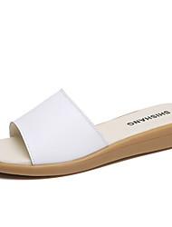 cheap -Women's Sandals Wedge Sandals Flat Sandal Summer Flat Heel Peep Toe Daily PU White / Black / Blue