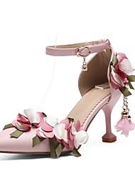 お買い得  -女性用 ウェディングシューズ 夏 スティレットヒール ポインテッドトゥ 結婚式 PUレザー ホワイト / ピンク