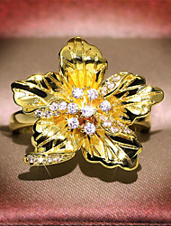 cheap -Women's Ring 1pc Gold Copper Gold Plated Imitation Diamond Irregular Vintage Gift Festival Jewelry Classic Flower