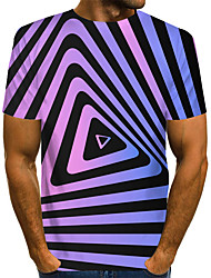 cheap -Men's Graphic 3D Print Black & Gray Print T-shirt Basic Exaggerated Daily Purple / Red / Yellow / Gray