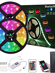 cheap -ZDM 32.8ft  2*5M App Intelligent Control Bluetooth Music Sync Flexible Led Strip Lights 5050 RGB SMD 300 LEDs IR 24 Key Bluetooth Controller with Installation Package 12V 4A Adapter Kit