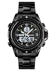 cheap -SKMEI Men's Military Watch Digital Modern Style Sporty Outdoor Calendar / date / day Analog - Digital Black Silver Black / White / One Year / Stainless Steel / Chronograph / Dual Time Zones