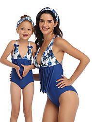 cheap -2 Piece Mommy and Me Active Sweet Tropical Leaf Floral Geometric Color Block Backless Bow Tassel Fringe Sleeveless Short Above Knee Swimwear Blue