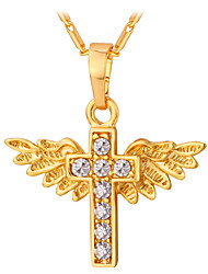 cheap -Women's Necklace Cross Wings Angel Wings Vintage Party Work Casual Rhinestone Platinum Plated Gold Plated Gold Silver Necklace Jewelry For Daily