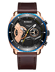 cheap -Men's Dress Watch Japanese Quartz Genuine Leather 30 m Water Resistant / Waterproof Calendar / date / day Day Date Analog Fashion Cool - Black Brown One Year Battery Life