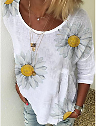 cheap -Women's Floral Solid Colored Daisy Print T-shirt Basic Street chic Daily Going out White / Blue / Yellow / Blushing Pink / Green