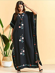 cheap -Women's Sundress Maxi long Dress - Half Sleeve Print Summer Casual Boho 2020 Black Beige One-Size