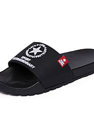 cheap -Men's Summer Casual Daily Home Slippers & Flip-Flops PVC Breathable Non-slipping Black / Red / Blue Slogan