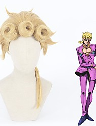 cheap -Cosplay Wig Giorno Giovanna JoJo's Bizarre Adventure Straight Curly Braid With Ponytail Wig Long Blonde Synthetic Hair 16 inch Women's Anime Cosplay Exquisite Blonde