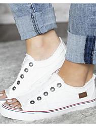 cheap -Women's Sandals Flat Sandal Summer Flat Heel Peep Toe Daily Canvas Almond / White / Blue