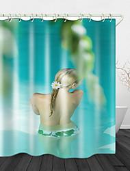 رخيصةأون -حمام سباحة جمال منظر خلفي طباعة رقمية قماش ستارة دش مقاوم للماء للحمام ديكور المنزل مغطى ستائر حوض الاستحمام يشمل خطافات
