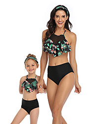 cheap -2 Piece Mommy and Me Active Sweet Tropical Leaf Floral Geometric Color Block Ruffle Print Sleeveless Short Above Knee Swimwear Red