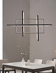 cheap -4-Light 85cm LED Pendant Light Linear Frame Aluminum Acrylic Matte Rectangular Design 100W/80W 3-Light Gold Silver Black Dimmable with Remote Control