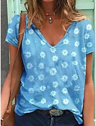 preiswerte -Damen Blumen T-shirt Alltag Blau / Purpur / Grau