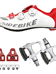cheap -SIDEBIKE Adults' Cycling Shoes With Pedals & Cleats Road Bike Shoes Carbon Fiber Cushioning Cycling Red / White Men's Cycling Shoes