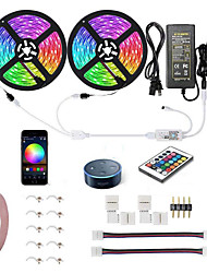 cheap -KWB 10M 2*5M WIFI Smart LED Strip Lights Kit RGB Tiktok Lights Waterproof 5050 300 LEDs Phone Controlled Timer LED Tape Light Works with Android iOS and Google Home and 12V 6A Power Supply