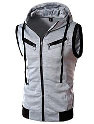 cheap -Men's Hoodie Sweatshirt Color Block / Solid Colored Hooded Active Sports - Sleeveless Slim Wine Dark Gray Light gray M L XL XXL XXXL