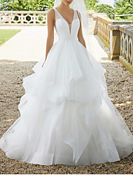 cheap -Ball Gown Wedding Dresses V Neck Sweep / Brush Train Organza Sequined Sleeveless Sexy See-Through with Cascading Ruffles 2021