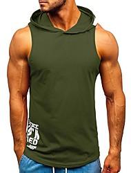 cheap -Men's Letter Tank Top Daily Hooded White / Black / Green / Light Blue / Sleeveless