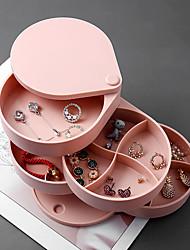 Недорогие -шкатулки творческий 4 слоя вращающийся пластиковый контейнер для ювелирных украшений случае серьги кольцо коробка многофункциональный ящик для хранения ювелирных изделий