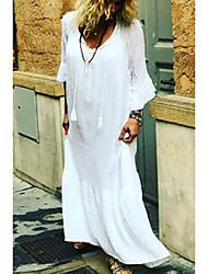 cheap -Women's Sheath Dress - Long Sleeve Solid Color Summer Elegant 2020 White Black M L XL XXL XXXL