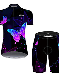 cheap -Women's Short Sleeve Cycling Jersey with Shorts Black / Red Butterfly Gradient Solid Color Bike Quick Dry Breathable Sports Butterfly Mountain Bike MTB Road Bike Cycling Clothing Apparel