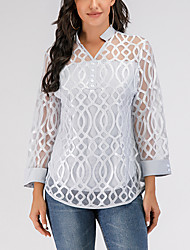 cheap -Women's Causal Blouse Solid Colored Geometry Lace Long Sleeve Tops V Neck Gray