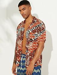cheap -Men's Graphic Shirt Daily Button Down Collar Yellow / Green / Brown / Short Sleeve