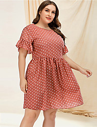 cheap -Women's A Line Dress - Short Sleeves Polka Dot Ruffle Summer Casual Street chic Daily Going out Flare Cuff Sleeve 2020 Blushing Pink L XL XXL XXXL XXXXL
