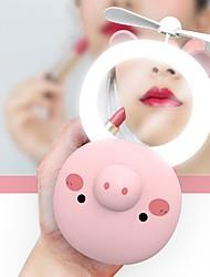 cheap -Beauty for Women Cartoon Pig Portable LED Fill Light Makeup Mirror Fan Bright Adjustable USB Charging Portable Handheld Mini Fan Open Eyes General