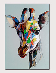 cheap -Mintura Large Size Hand Painted Giraffe Animal Oil Painting on Canvas Modern Abstract Pop Art Wall Pictures For Home Decoration No Framed