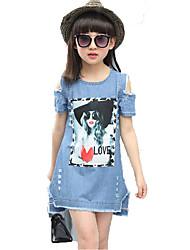 cheap -Kids Girls' Active Cute Blue & White Cartoon Print Short Sleeve Above Knee Dress Blue