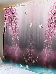 Недорогие -розовый цветок и птица печать большие гобелены дешевые хиппи на стене искусство гобелен богемный декоративные гостиной большое одеяло