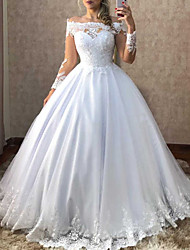 cheap -Ball Gown Wedding Dresses Off Shoulder Sweep / Brush Train Polyester Long Sleeve Country Plus Size with Appliques 2020