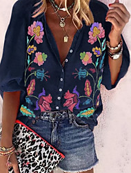 cheap -Women's Floral Vintage Style Shirt Boho Vintage Daily Shirt Collar Blue