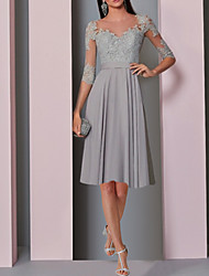 cheap -A-Line Elegant Grey Party Wear Cocktail Party Dress Illusion Neck Half Sleeve Knee Length Chiffon with Pleats Lace Insert 2020