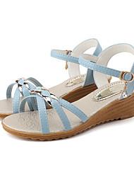 cheap -Women's Sandals Wedge Sandals Summer Wedge Heel Open Toe Casual Daily Outdoor PU Beige / Light Blue