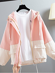 cheap -Women's Daily Fall & Winter Regular Jacket, Color Block Hooded Long Sleeve Polyester Yellow / Blushing Pink / Green