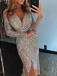 cheap -Mermaid / Trumpet Sexy Sparkle Party Wear Formal Evening Dress V Neck Long Sleeve Knee Length Sequined with Sequin 2020