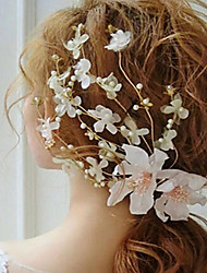 cheap -Polyester Headdress with Floral 1 Piece Wedding / Special Occasion Headpiece